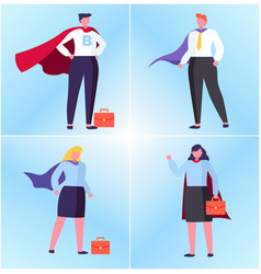 winner or superhero man and woman worker vector image