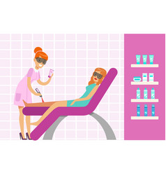 Woman having legs epilation with laser hair vector