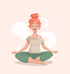 Young woman in lotus pose vector
