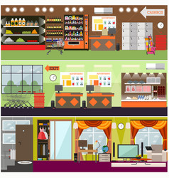 grocery store supermarket home interior vector image