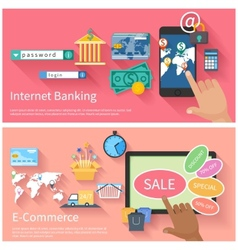 Internet banking and e-commerce concept vector image