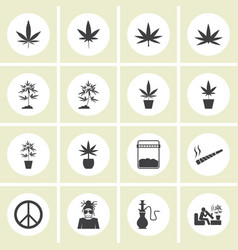 marijuana icon set vector image