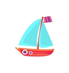 Sailing Toy Boat With Blue Sails vector image