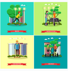 set of modern transport concept posters in vector image vector image