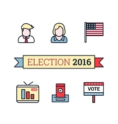 Thin line art icons set American election 2016 vector image vector image