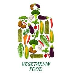 Vegetable cutting board for vegetarian food design vector image vector image