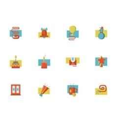 Christmas symbols flat color set vector image