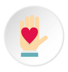 hand with heart icon circle vector image vector image