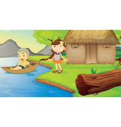 kids and a boat vector image vector image