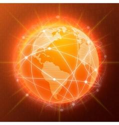 Network globe concept orange vector image vector image