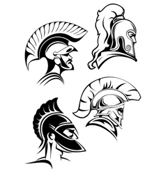 Outline spartan warriors or gladiators heads vector