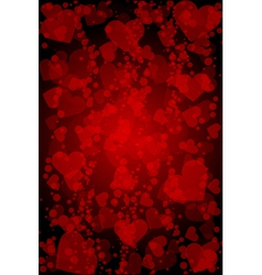 red background with hearts vector image vector image