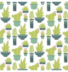 seamless pattern with succulent plants and vector image vector image