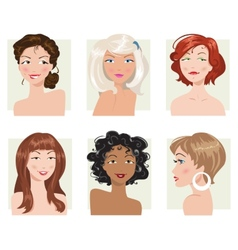 Set of female hair style collection vector image vector image