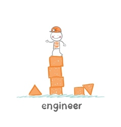 engineer builds the tower of childrens blocks vector image vector image