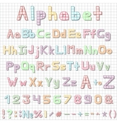Funny hand drawn latin alphabet letters sketch vector image