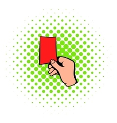 Raised red card icon comics style vector image vector image