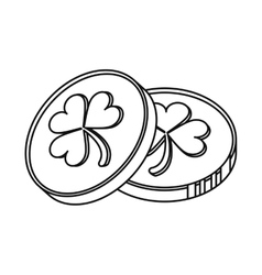 st patrick day coins sign outline vector image