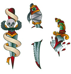 tattoo daggers vector image vector image