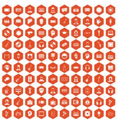 100 audience icons hexagon orange vector
