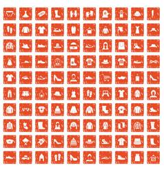100 rags icons set grunge orange vector image