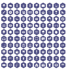 100 soccer icons hexagon purple vector