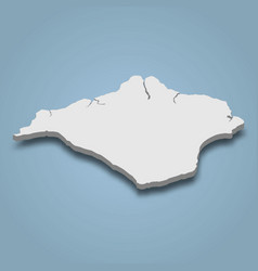 3d isometric map isle wight is an island vector