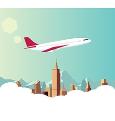 Airplane with city background vector