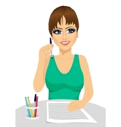Attractive secretary thinking concept vector