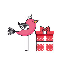 bird with gift box present vector image