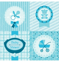 Boy baby shower invitation cards vector