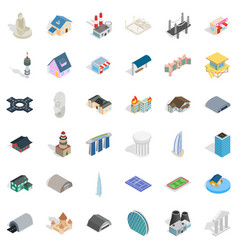 bus stop icons set isometric style vector image