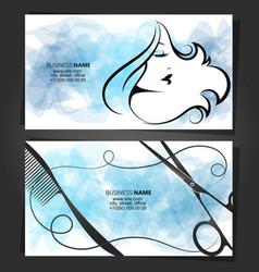 Business card beauty salon hair stylist concept vector