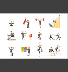 businessman working out in gym metaphor vector image
