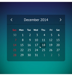 Calendar page for December 2014 vector image