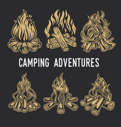 camping firewood vintage adventure outdoor logo vector image