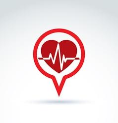 Cardiology cardiogram heart beat icon conceptual vector