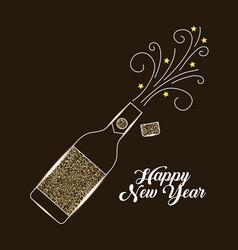 Champagne bottle explosion drink celebration vector