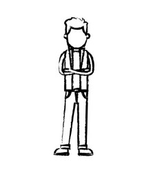 Character man standing wear vest style sketch vector
