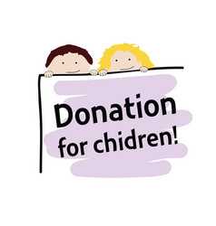children with donation transparent color vector image