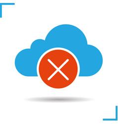 Cloud storage error glyph icon vector