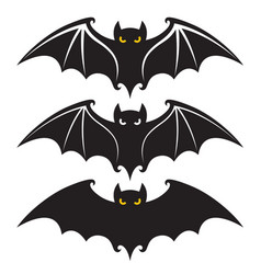 collection black halloween bats design isolated vector image