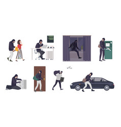 Collection scenes with male thief or burglar vector