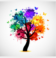 Colorful tree background with paint splat and vector