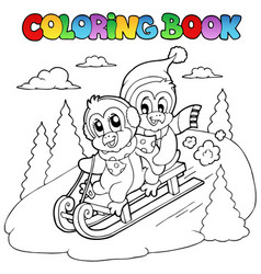 coloring book penguins sledging vector image