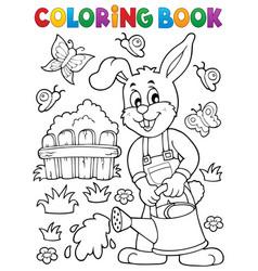 coloring book rabbit gardener theme 2 vector image