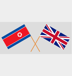 Crossed british and korean flags vector