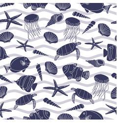 cute hand drawn sea life seamless pattern vector image