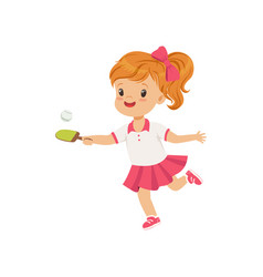 cute little girl playing table tennis kids vector image