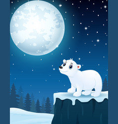 cute polar bear cartoon in the winter night backgr vector image